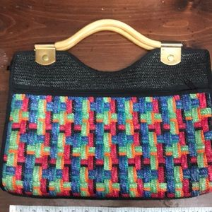 Multi Colored Straw Purse Handbag Tote